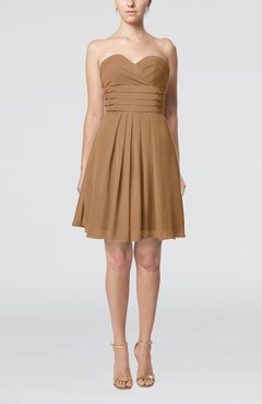 Light Brown Simple Sleeveless Zip up Chiffon Pleated Graduation Dresses