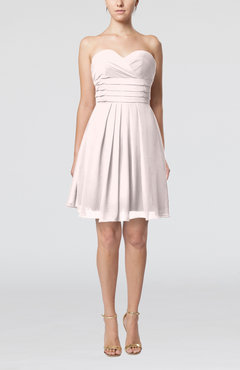 Light Pink Simple Sleeveless Zip up Chiffon Pleated Graduation Dresses