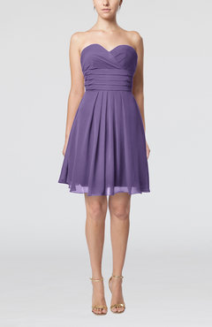 Lilac Simple Sleeveless Zip up Chiffon Pleated Graduation Dresses