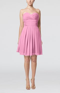 Pink Simple Sleeveless Zip up Chiffon Pleated Graduation Dresses