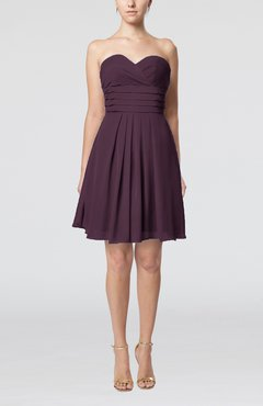 Plum Simple Sleeveless Zip up Chiffon Pleated Graduation Dresses