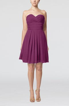 Raspberry Simple Sleeveless Zip up Chiffon Pleated Graduation Dresses