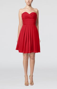 Red Simple Sleeveless Zip up Chiffon Pleated Graduation Dresses