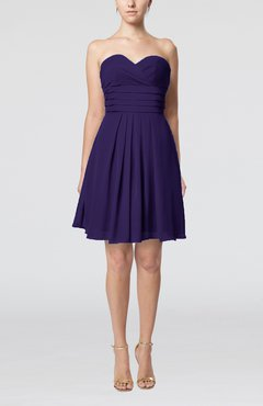 Royal Purple Simple Sleeveless Zip up Chiffon Pleated Graduation Dresses