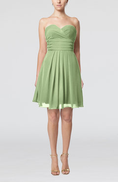 Sage Green Simple Sleeveless Zip up Chiffon Pleated Graduation Dresses