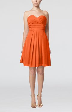 Tangerine Simple Sleeveless Zip up Chiffon Pleated Graduation Dresses