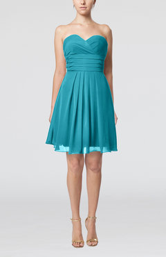 Teal Simple Sleeveless Zip up Chiffon Pleated Graduation Dresses