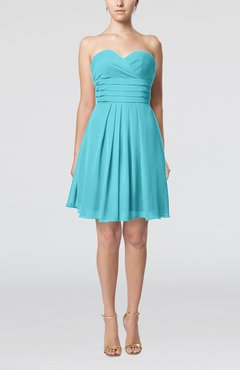 Turquoise Simple Sleeveless Zip up Chiffon Pleated Graduation Dresses
