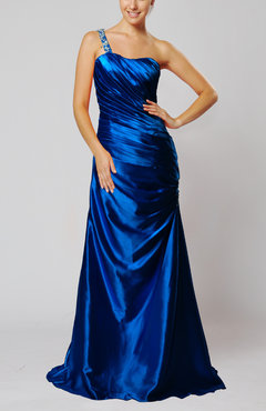 Royal Blue Elegant One Shoulder Sleeveless Silk Like Satin Floor Length Evening Dresses