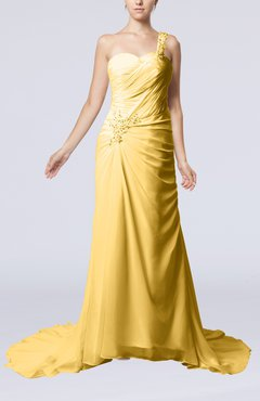 Gold Elegant Church Sheath One Shoulder Chiffon Ruching Bridal Gowns