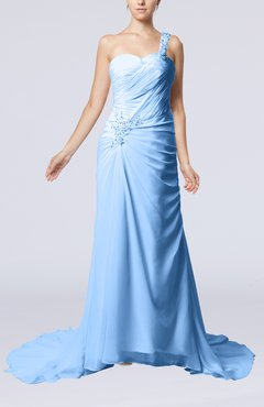Light Blue Elegant Church Sheath One Shoulder Chiffon Ruching Bridal Gowns
