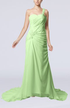 Pale Green Elegant Church Sheath One Shoulder Chiffon Ruching Bridal Gowns