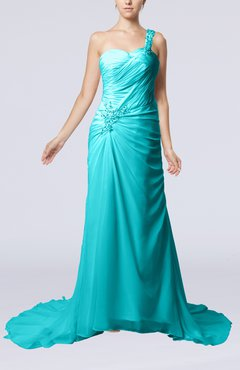 Teal Elegant Church Sheath One Shoulder Chiffon Ruching Bridal Gowns