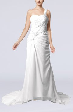 White Elegant Church Sheath One Shoulder Chiffon Ruching Bridal Gowns