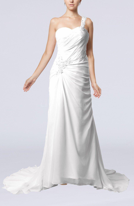 White elegant church sheath one shoulder chiffon ruching for Sheath chiffon wedding dresses