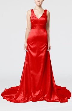 Red Simple Column V-neck Sleeveless Zip up Court Train Evening Dresses