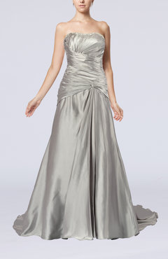 Platinum Glamorous Church Sweetheart Sleeveless Lace up Court Train Pleated Bridal Gowns