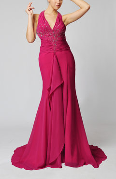 Hot Pink Luxury V-neck Sleeveless Backless Chiffon Court Train Prom Dresses