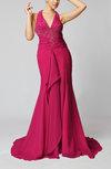 Luxury V-neck Sleeveless Backless Chiffon Court Train Prom Dresses