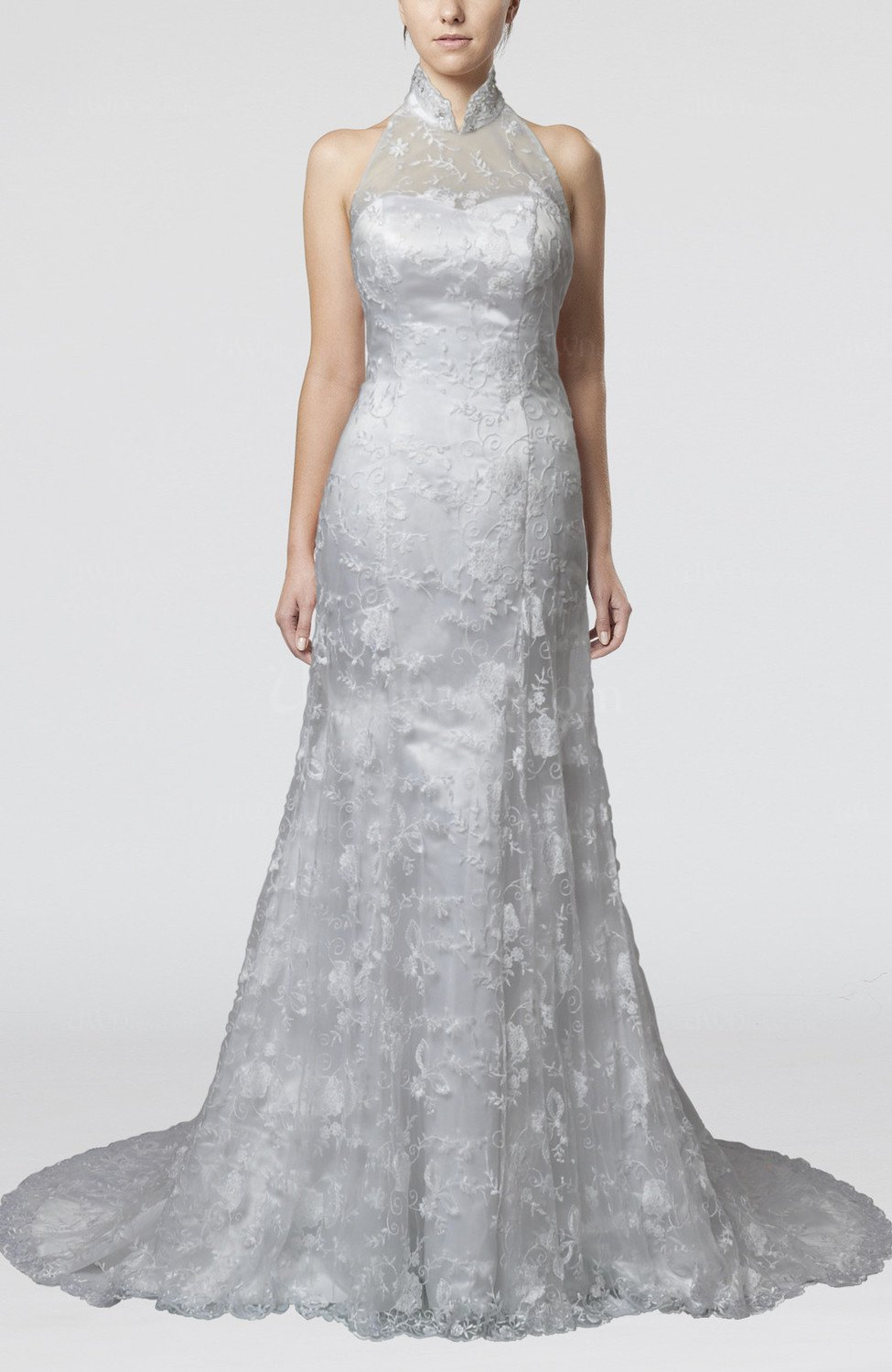 Modest hall sleeveless backless lace bridal gowns for Modest lace wedding dresses