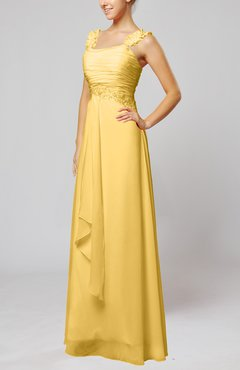 Gold Informal Outdoor Thick Straps Sleeveless Zip up Floor Length Bridal Gowns