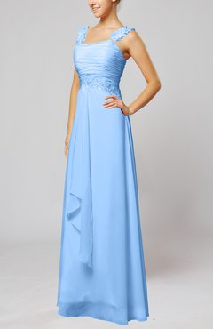 Light Blue Informal Outdoor Thick Straps Sleeveless Zip up Floor Length Bridal Gowns