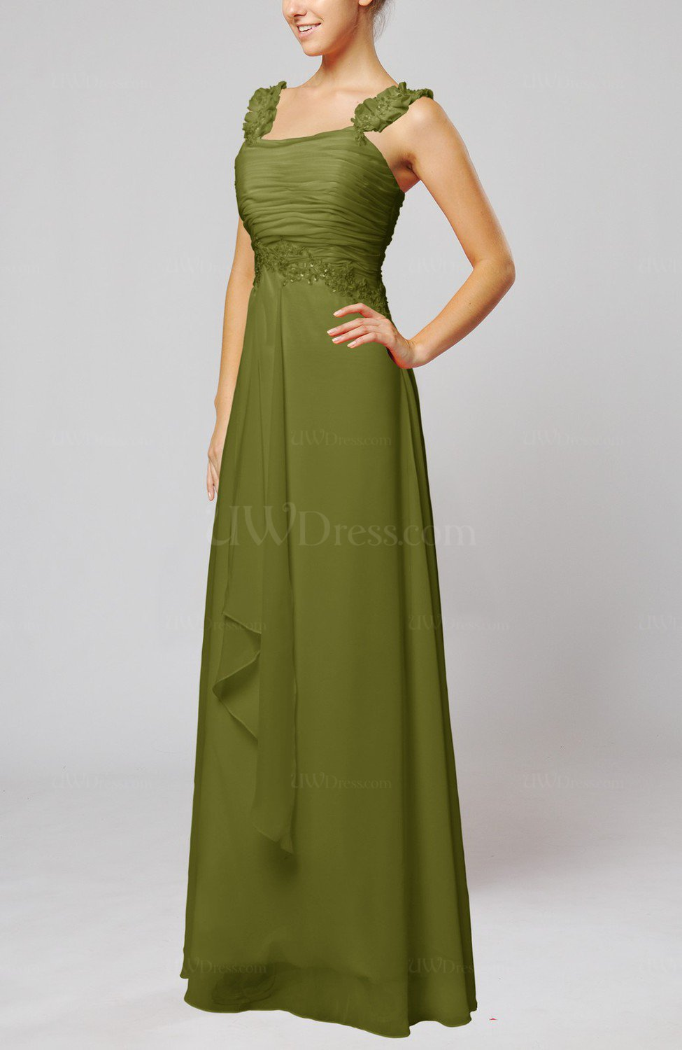 Olive green informal outdoor thick straps sleeveless zip for Olive green wedding dresses