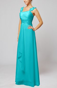 Teal Informal Outdoor Thick Straps Sleeveless Zip up Floor Length Bridal Gowns