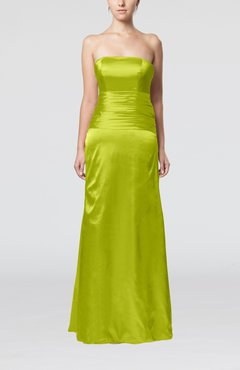 apple green elegant strapless backless silk like satin ribbon bridesmaid dresses - Apple Green Color