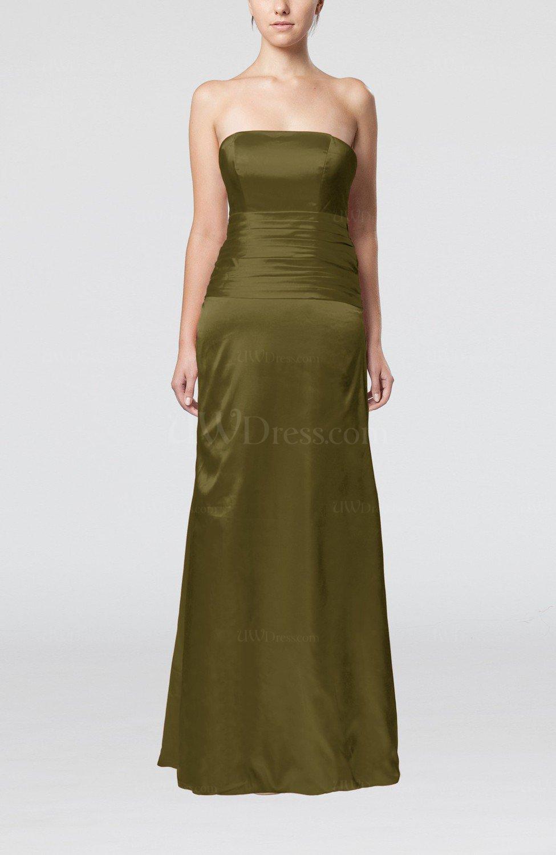 Beech elegant strapless backless silk like satin ribbon for Elegant satin wedding dresses