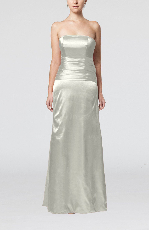 Cream elegant strapless backless silk like satin ribbon for Elegant satin wedding dresses