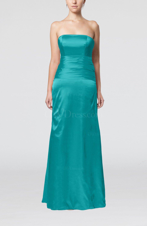 Emerald Green Elegant Strapless Backless Silk Like Satin Ribbon ...