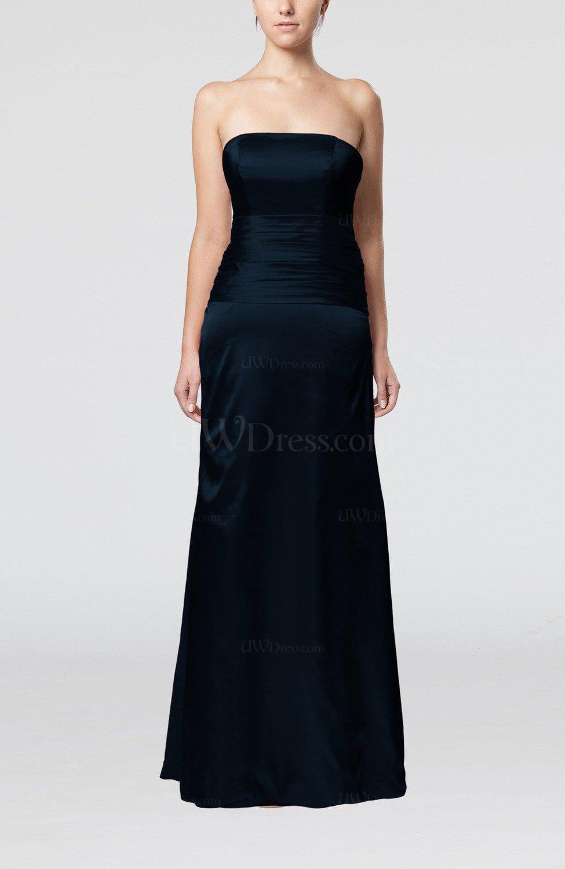 Navy Blue Elegant Strapless Backless Silk Like Satin