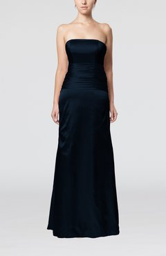 Navy Blue Elegant Strapless Backless Silk Like Satin Ribbon Bridesmaid Dresses