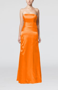 Orange Elegant Strapless Backless Silk Like Satin Ribbon Bridesmaid Dresses