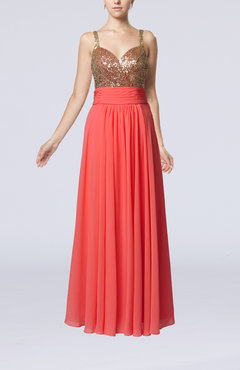 Coral Elegant Empire Sweetheart Sleeveless Backless Chiffon Graduation Dresses