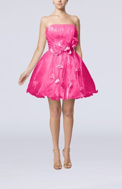 Pink Cinderella Sleeveless Backless Organza Mini Flower Homecoming Dresses