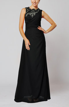 Black Vintage Column Jewel Floor Length Lace Evening Dresses