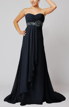 Navy Blue Elegant Sleeveless Zip up Court Train Ruching Homecoming Dresses