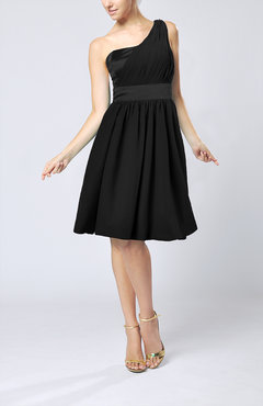 Black Modern A-line One Shoulder Sleeveless Chiffon Bridesmaid Dresses