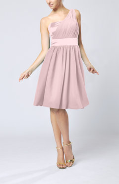 Blush Modern A-line One Shoulder Sleeveless Chiffon Bridesmaid Dresses