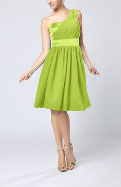 Bright Green Modern A-line One Shoulder Sleeveless Chiffon Bridesmaid Dresses