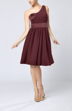 Burgundy Modern A-line One Shoulder Sleeveless Chiffon Bridesmaid Dresses