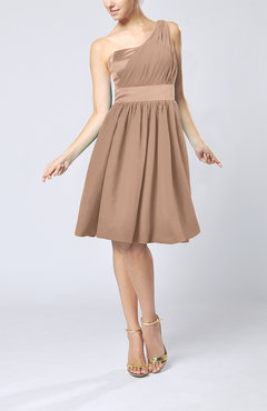 Burnt Orange Modern A-line One Shoulder Sleeveless Chiffon Bridesmaid Dresses
