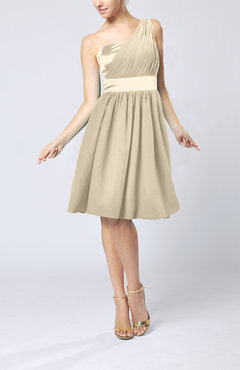 Champagne Modern A-line One Shoulder Sleeveless Chiffon Bridesmaid Dresses