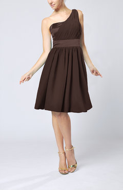 Chocolate Brown Modern A-line One Shoulder Sleeveless Chiffon Bridesmaid Dresses