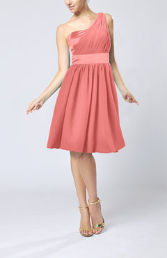 Coral Modern A-line One Shoulder Sleeveless Chiffon Bridesmaid Dresses