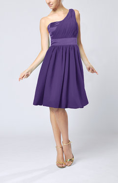 Dark Purple Modern A-line One Shoulder Sleeveless Chiffon Bridesmaid Dresses