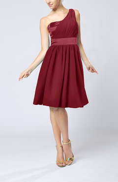Dark Red Modern A-line One Shoulder Sleeveless Chiffon Bridesmaid Dresses