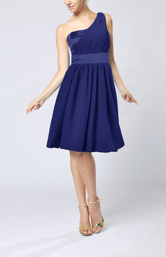 Electric Blue Modern A-line One Shoulder Sleeveless Chiffon Bridesmaid Dresses